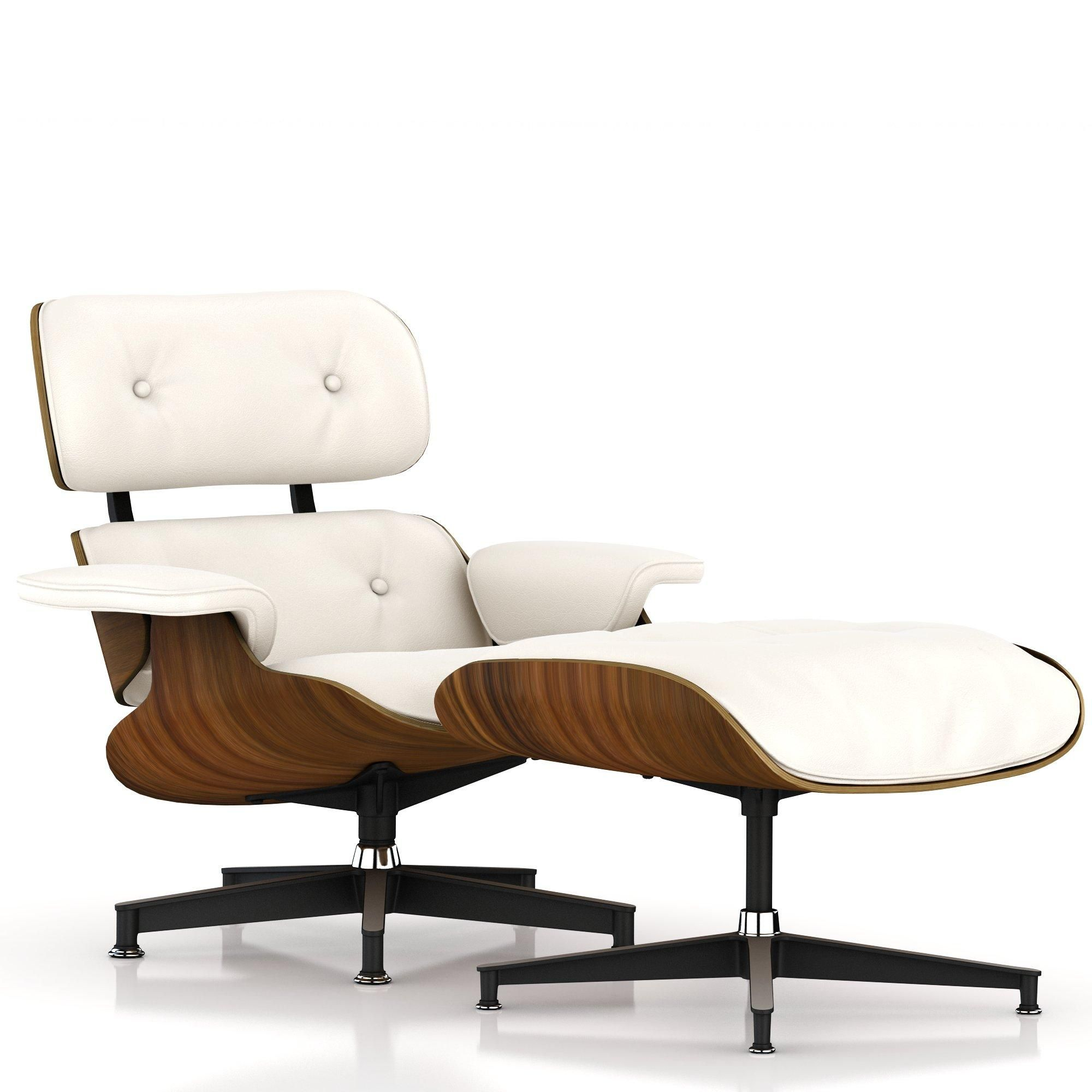 Eames Lounge Chair And Ottoman   VeneerOiled Santos Palisander +  MaterialMcl Leather Pearl