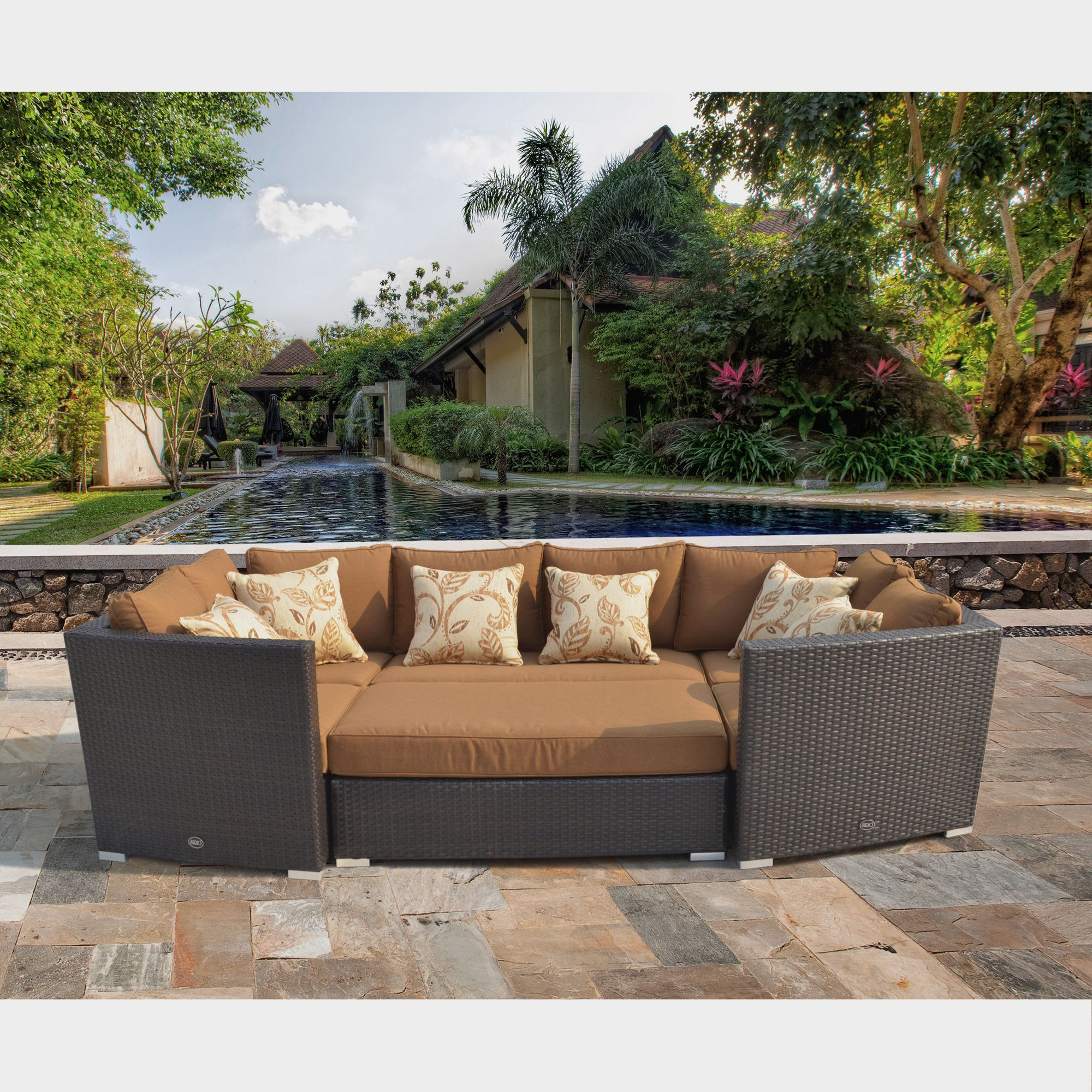 Corvus batavia outdoor piece brown wicker sofa set with sunbrella