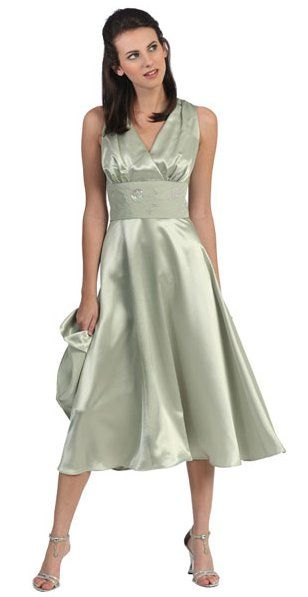 Bead Embroidered Gown Waistband Knee Length Bridesmaid Sage Dress $98.99