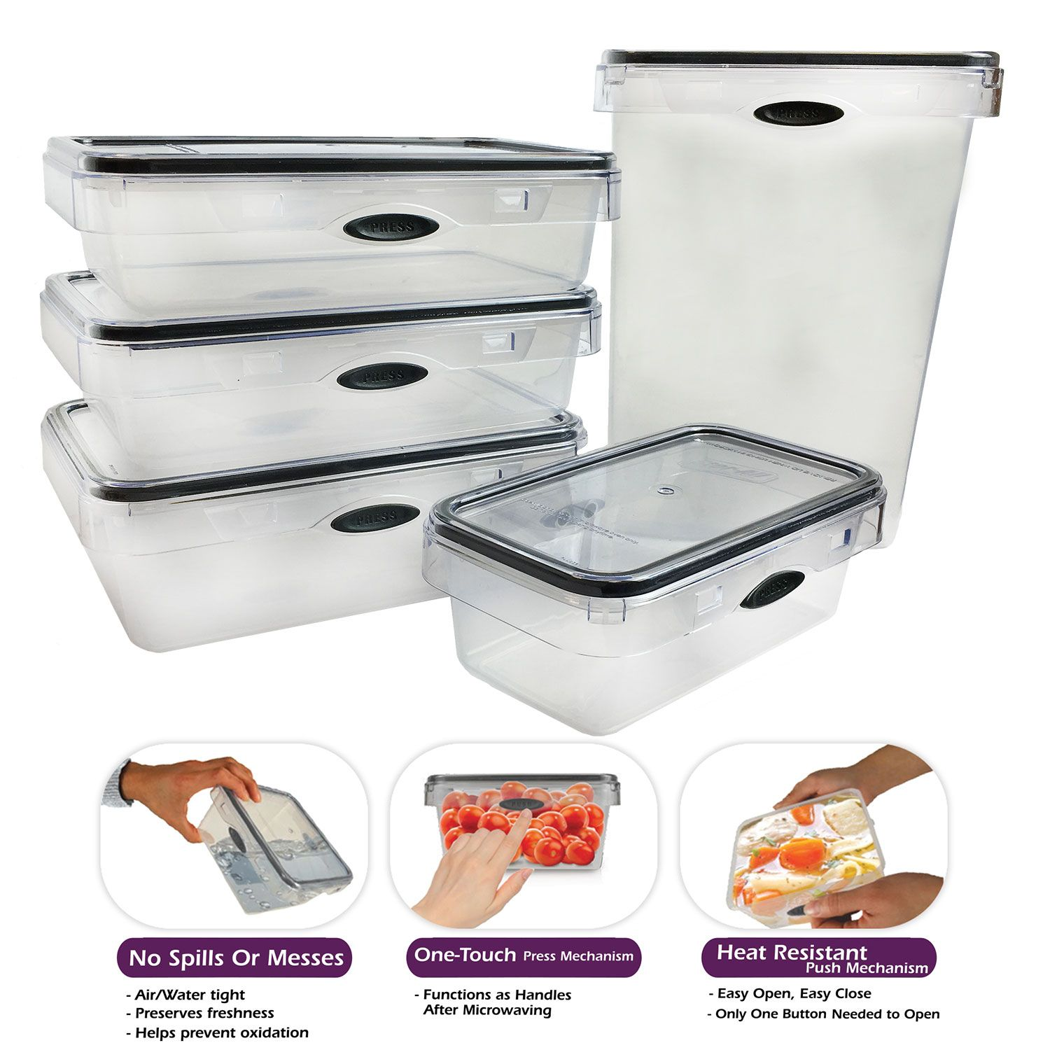 Stor All 10 Piece Press N Click Rectangular Food Storage Container Set Bpa Free Plastic Food Storage Containers Food Storage Storage Containers