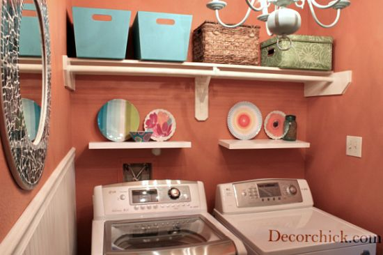 my laundry is sorely lacking in decoration and character...here is some inspiration! love the double shelves, which I could do. love the idea of paint on the walls, though not that color. Love the bins up high, which I plan to do. :)