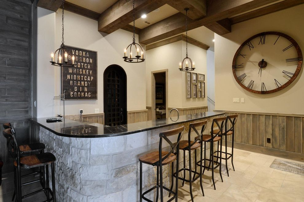 House Bar Counter Design Home Bar Rustic With Raised Countertop Subway Art