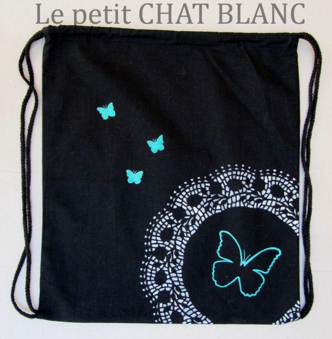 8e383cb6033 Mochila pintada a mano. Diseño mariposas.