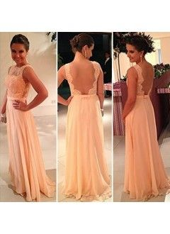 A Line Scoop Chiffon and Lace Backless Evening Dress