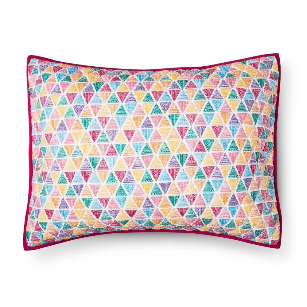 Pillowfort Quilted Triangle Pattern Cotton Pillow Sham - Pink Standard