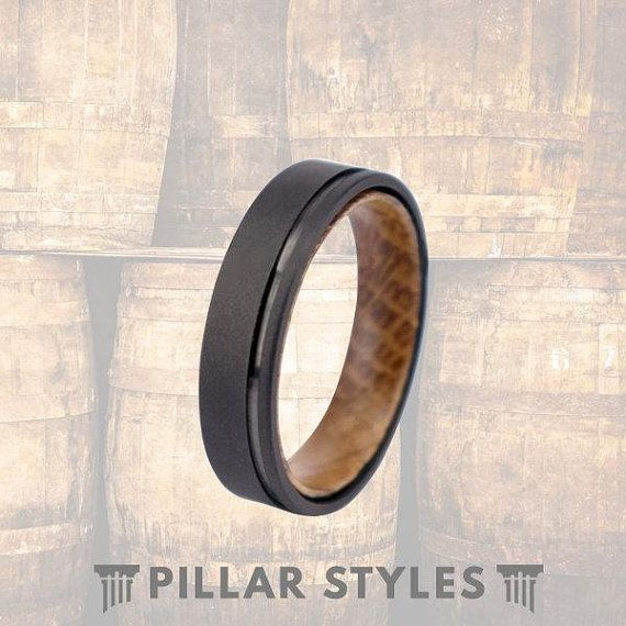 6mm Whiskey Barrel Ring Gun Metal Grey Ring Mens Wedding Band