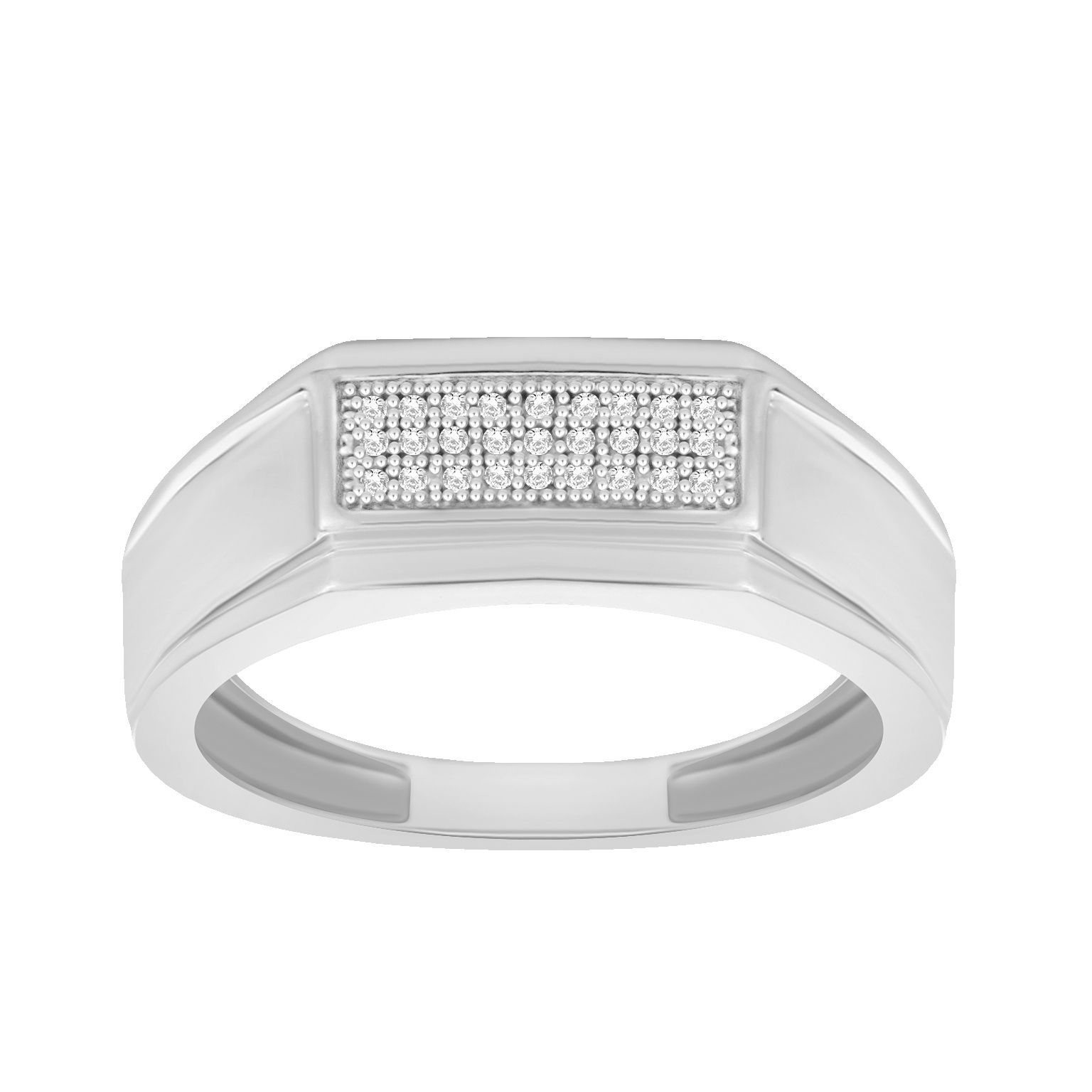 Trillion Designs Men's .925 Sterling Silver 1/20-carat Natural H-I, I2 Diamond Band (Size-7), Size: 7, White