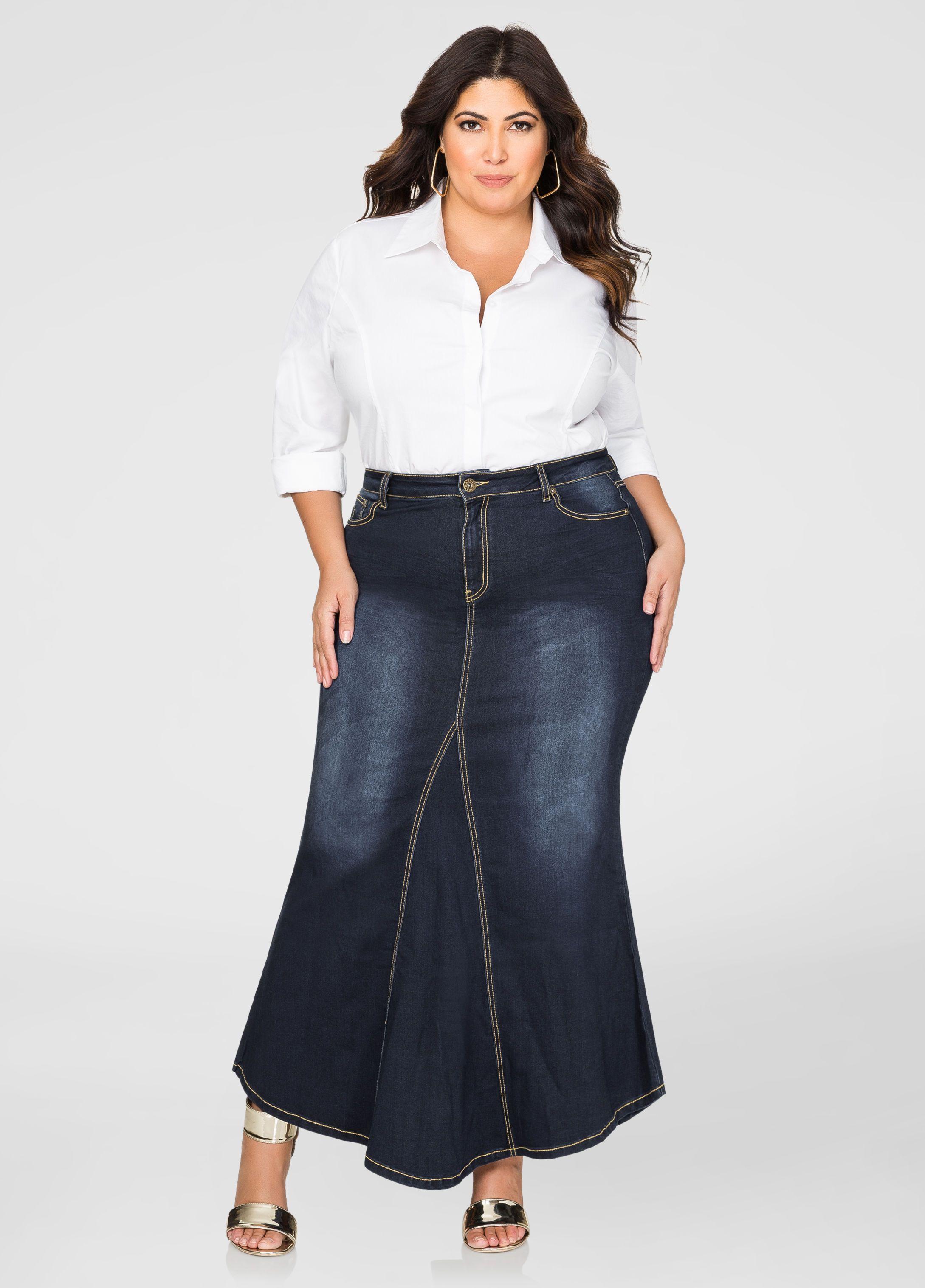 Fit N Flare Jean Skirt Jean Skirt Ashley Stewart And Wide Width