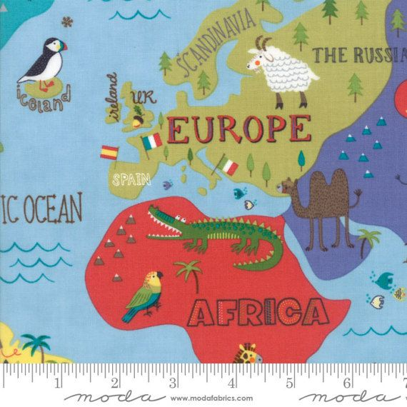 Hello world map sky fabric moda 35300 17 bty one 1 yard cut hello world map sky fabric moda 35300 17 bty one 1 yard cut childrens novelty fabric baby quilt fabric world map animals fabric gumiabroncs Images