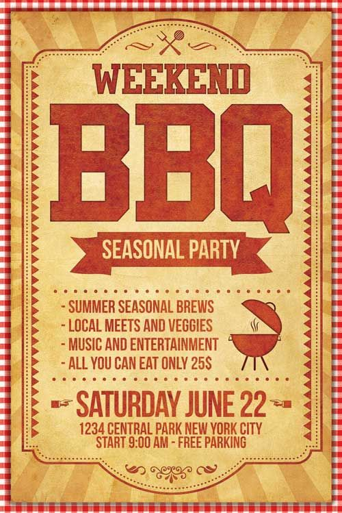 BBQ Flyer Template - http\/\/xtremeflyers\/bbq-flyer-template - summer flyer template