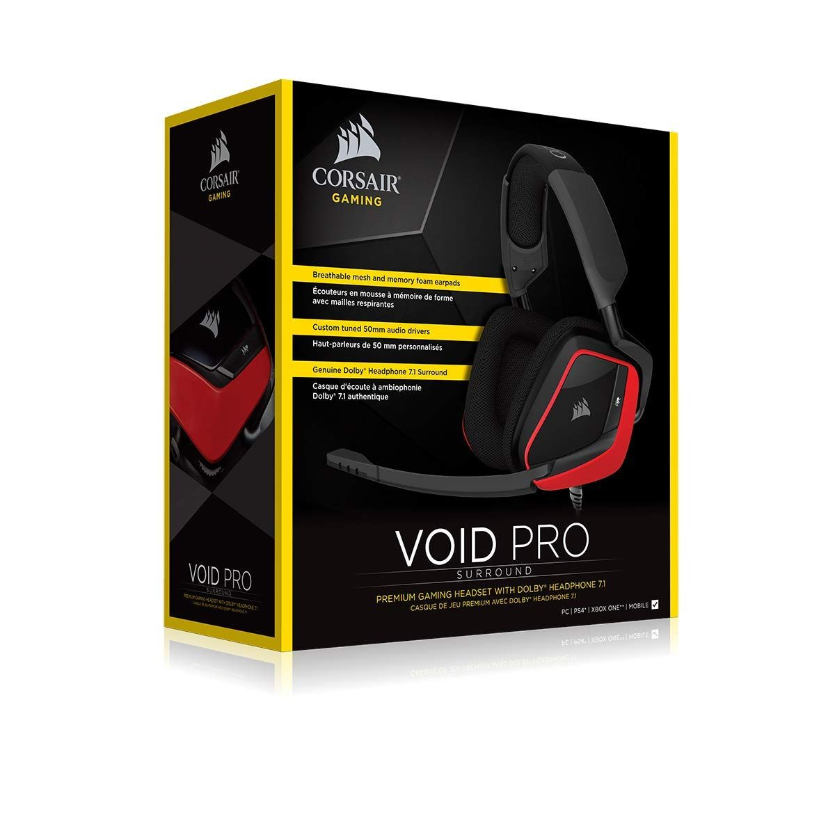 1a1d612edc6 CORSAIR Void PRO Surround Gaming Headset - Dolby 7.1 Surround Sound  Headphones for PC - Works with Xbox One, PS4, Nintendo Switch, iOS and  Android - Red ...