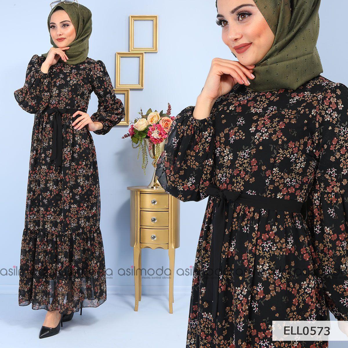 51cf52099b2e1 Bel kuşağı bulunan elbise çiçek desenli görünüme sahiptir. Elbise boydan  model olup, yandan fermuarlıdır