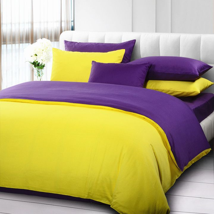 Purple Yellow Solid Color Bedding Set 100 Polyester Purple Bedding Purple Bedding Sets Yellow Bedding