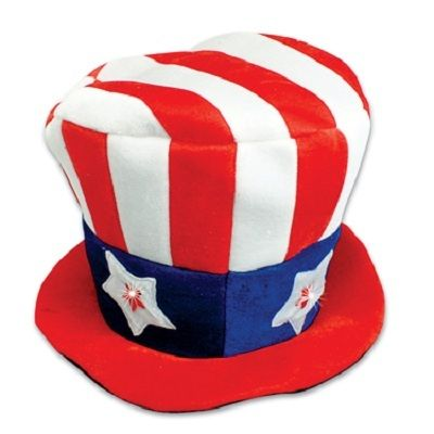 "Privateislandparty.com - Light Up L.E.D Uncle Sam Hat 5909 $6.99 Show your love for the US of a with this great looking and attention grabbing light up Uncle Sam hat. This hat has flashing stars that will shine along with Fouth of July fireworks! Batteries are included. Hat size : 21"" Adult small."