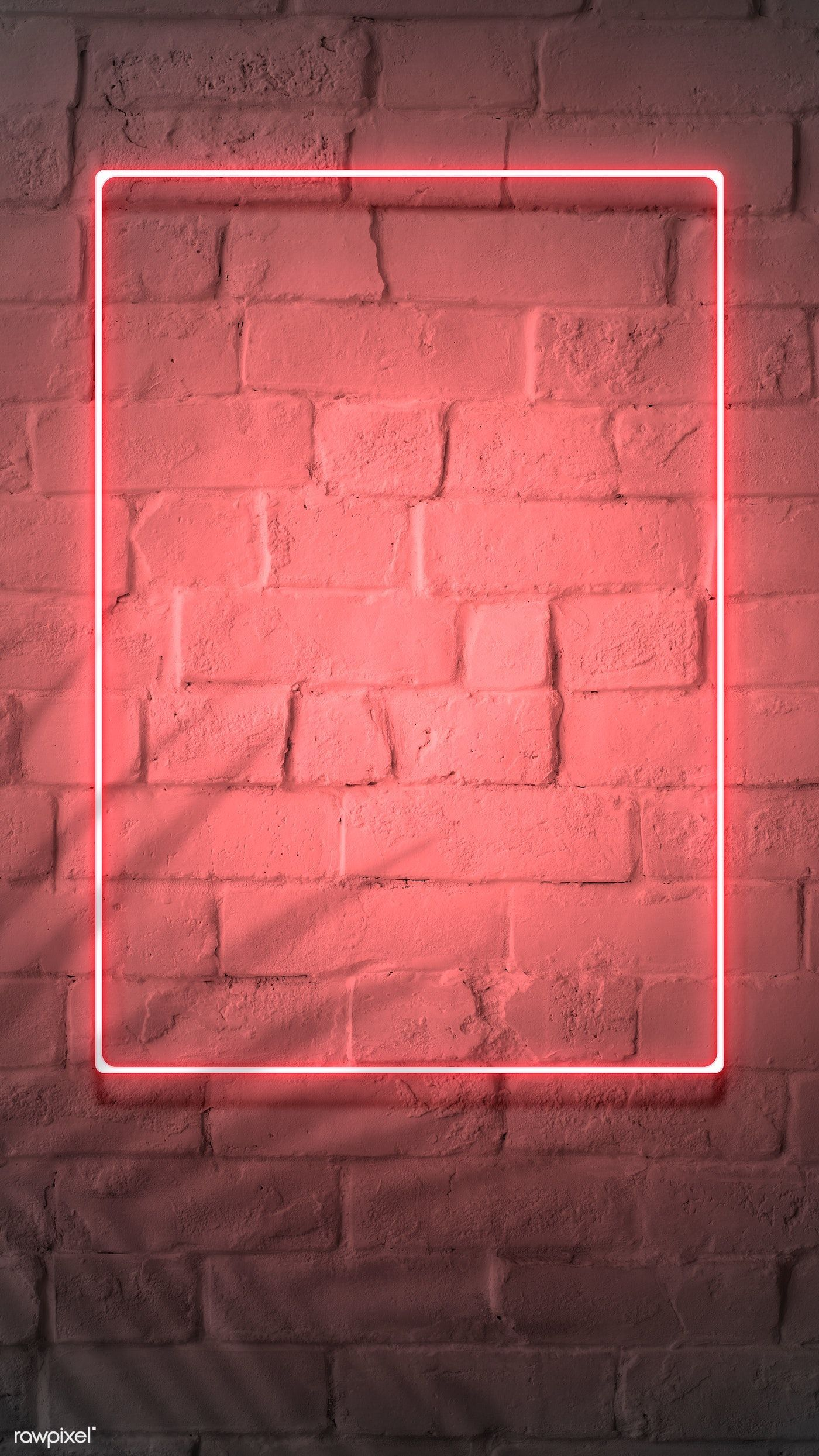 Download premium psd of Neon red frame on a brick wall 894328