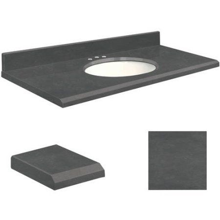 Transolid Quartz 31 inch x 19 inch 1 Sink Bathroom Vanity Top with Beveled Edge, 8 inch Contour and White Bowl, Available in Various Colors, Black