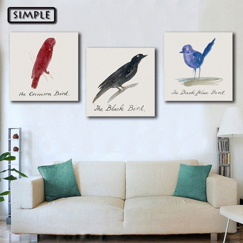 oil painting canvas cartoon cute birds art decoration painting