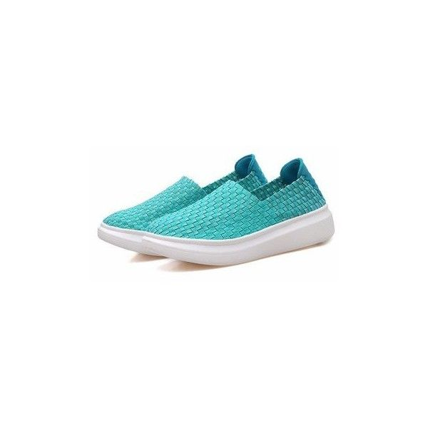Pure Color Breathable Slip On Flat Casual Elastic Sport Shoes (1.465 RUB) ❤ liked on Polyvore featuring shoes, flats, green, summer shoes, flat shoes, round cap, round toe shoes and slip on shoes