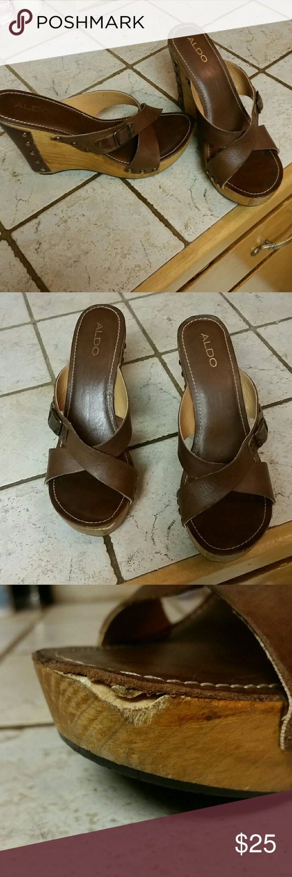 Aldo Wedges 8.5 Good condition except a chip on the front of right heel. Size 8.5 Aldo Shoes Wedges