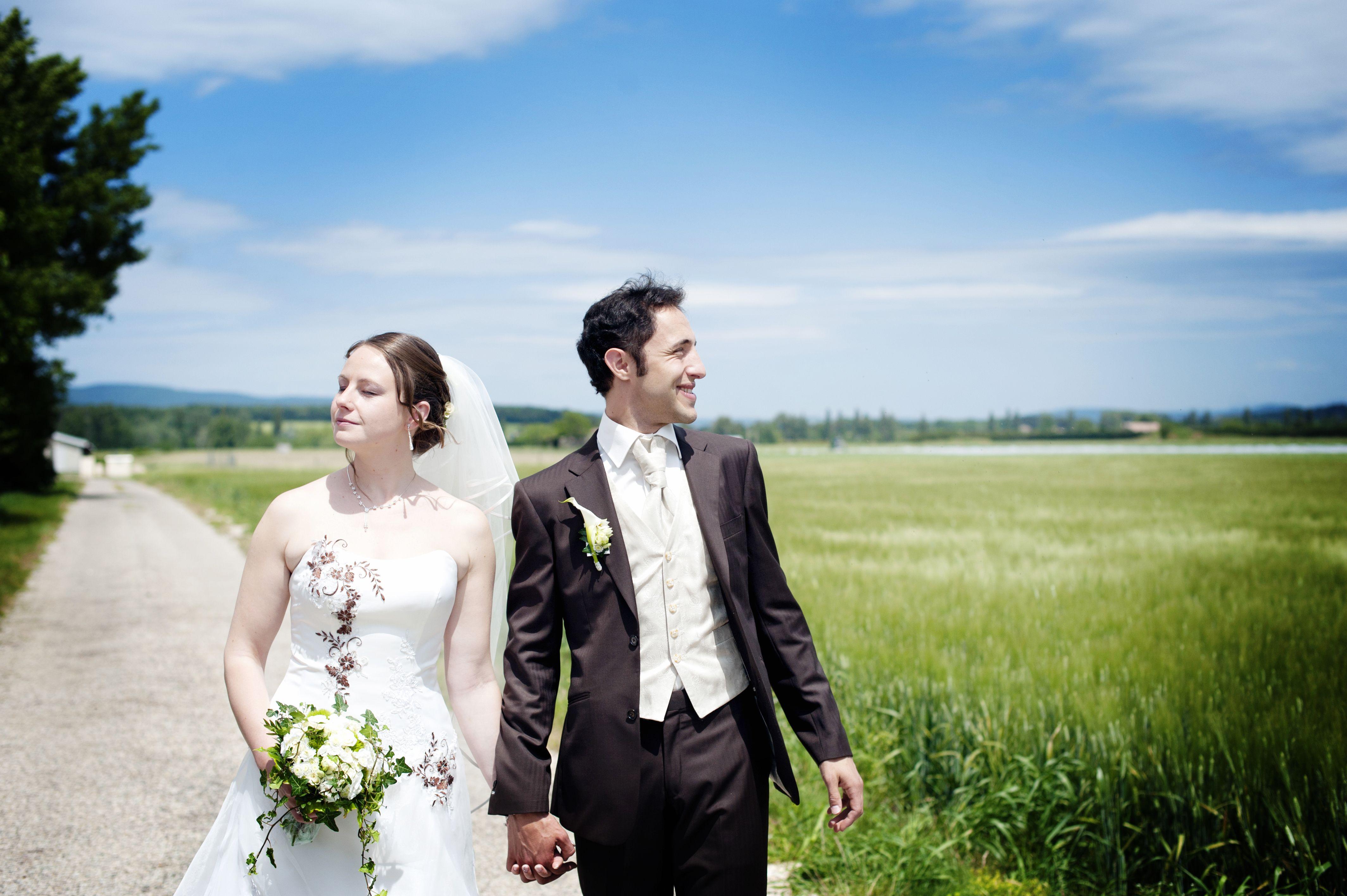 Great shot outdoor, Wedding, Couple walking