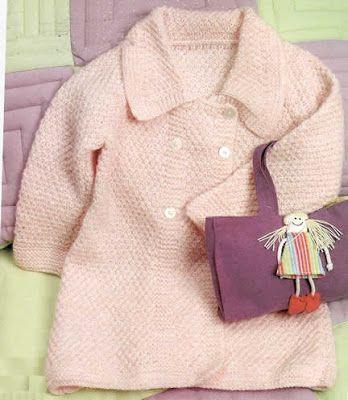 Abrigo tejido a palillo en punto arroz doble para niña de dos años Como  tejer a
