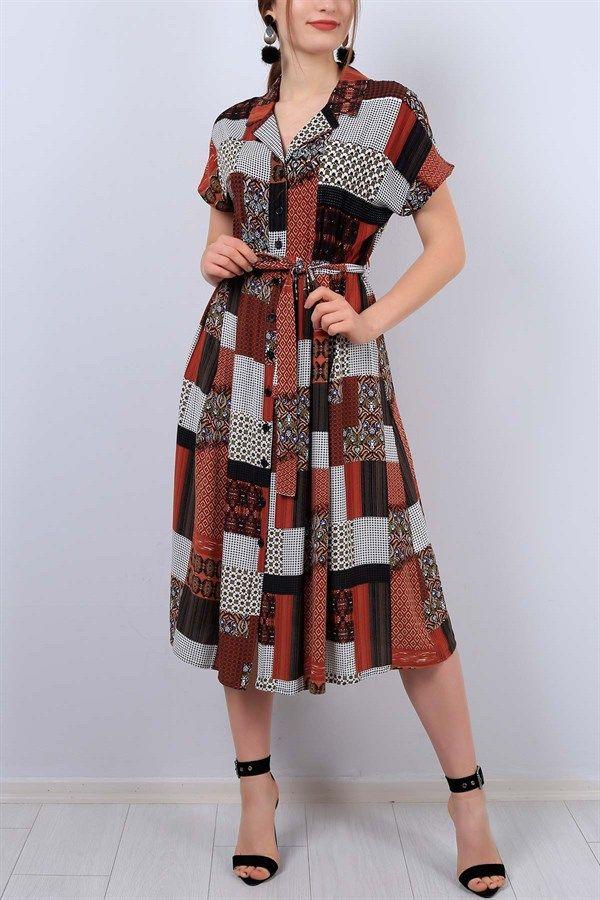 Desenli V Yaka Bayan Gomlek Elbise 12951b Gomlek Elbise Elbise Elbiseler