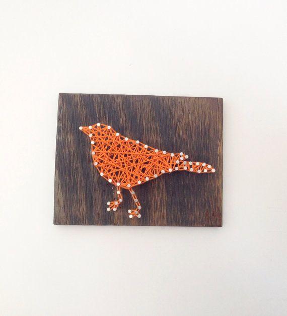 Orange Bird Nail and String Art Home Wall Decor