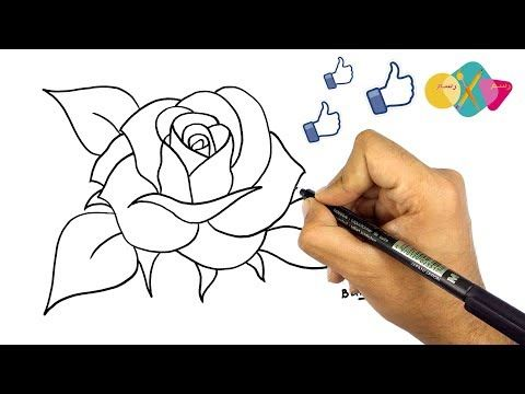 طريقة رسم وردة كيف ترسم وردة تعليم الرسم كيفية رسم وردة بالقلم الرصاص رس Acrylic Painting Flowers Acrylic Painting For Beginners Painting Tutorial