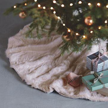 Faux Fur Tree Skirt Blush Westelm Glamorous Christmas