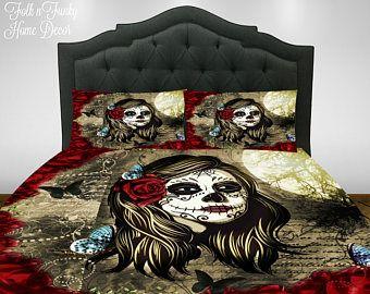 sugar skull comforter set duvet cover red rose la rosa skull bedding day