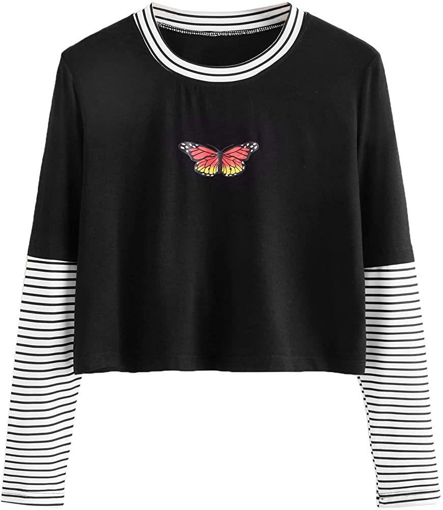 Sweatyrocks Women S Color Block Butterfly Print Striped Long Sleeve Crop Top T Shirt Black S At Amaz In 2021 Long Sleeve Crop Top Striped Long Sleeve Aesthetic Clothes [ 1000 x 870 Pixel ]