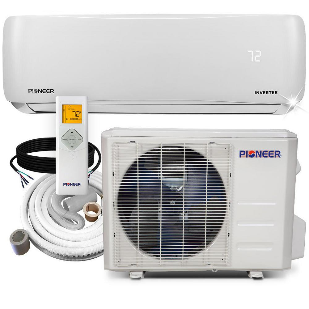 Pioneer 12 000 Btu 1 Ton 19 Seer Ductless Mini Split Air Conditioner Heat Pump Variable Speed Dc Inverter System 110 120v Wys012amfi19rl 16 The Home Depot Heat Pump System Air Conditioner Inverter Ductless Mini Split