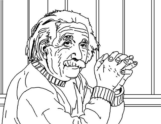 Albert Einstein Landscape Hello Kitty Colouring Pages Outline