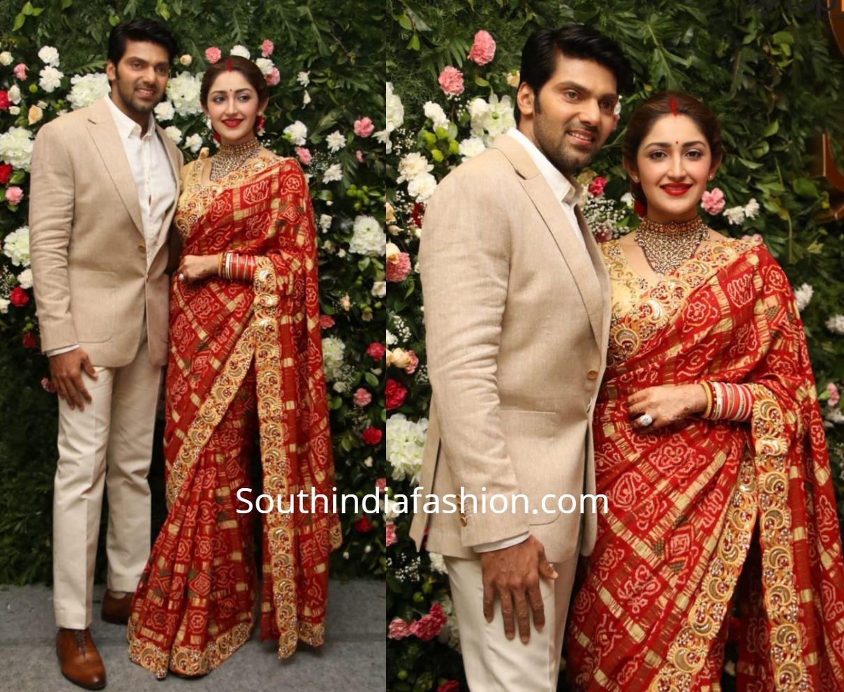Arya And Sayyeshaa At Their Wedding Reception In Chennai Saree Designs Gold Saree Blouse Brocade Blouse Designs