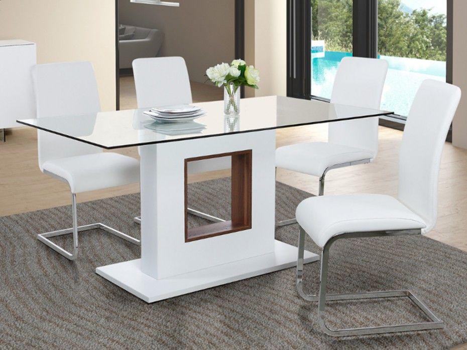 Table à manger ELVIRA - 6 couverts - MDF  Verre trempé Design