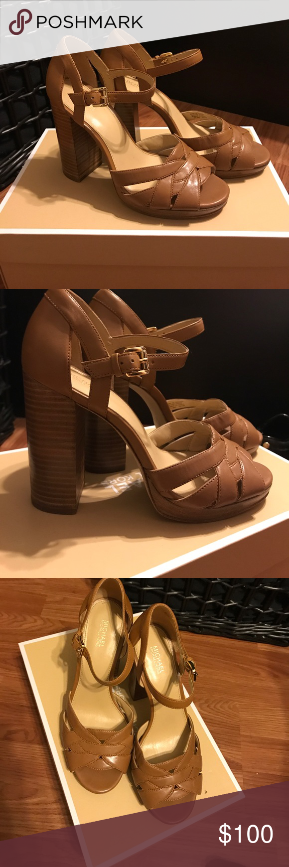 Michael kors Annalise platform Annalise 70's inspired leather platform. The heal is 4.25 inches high and has about a quarter inch platform in front. Extremely comfortable shoe, worn once and are currently being sold in MK stores. MICHAEL Michael Kors Shoes Heels