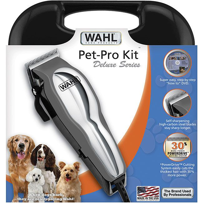 Wahl Pro 13-Piece Pet Clipper Kit Grooming Deluxe Trimmer Dog Blade Guard w DVD