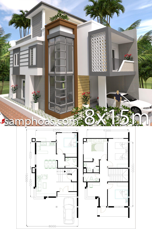 Home Design Plan 8x15m With 4 Bedrooms4 Bedroom 8x15m House Description The House Has Two Story L Duplex House Plans Model House Plan Architectural House Plans