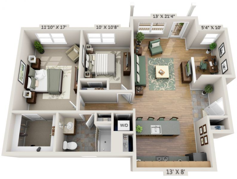 2 Bedroom House Plans Designs 3D luxury Apartment floor