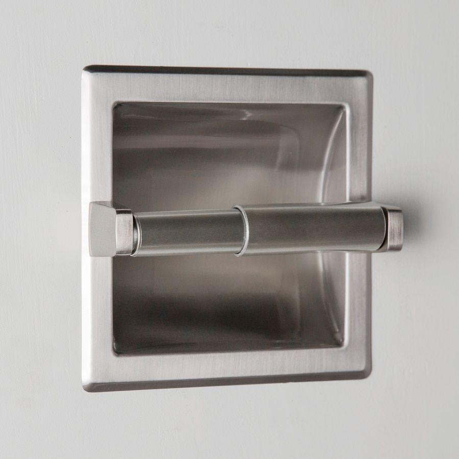 Project Source Seton Brushed Nickel Recessed Spring Loaded Toilet Paper Holder At Lowes Com Brush In 2020 Toilet Paper Holder Paper Holder Recessed Toilet Paper Holder