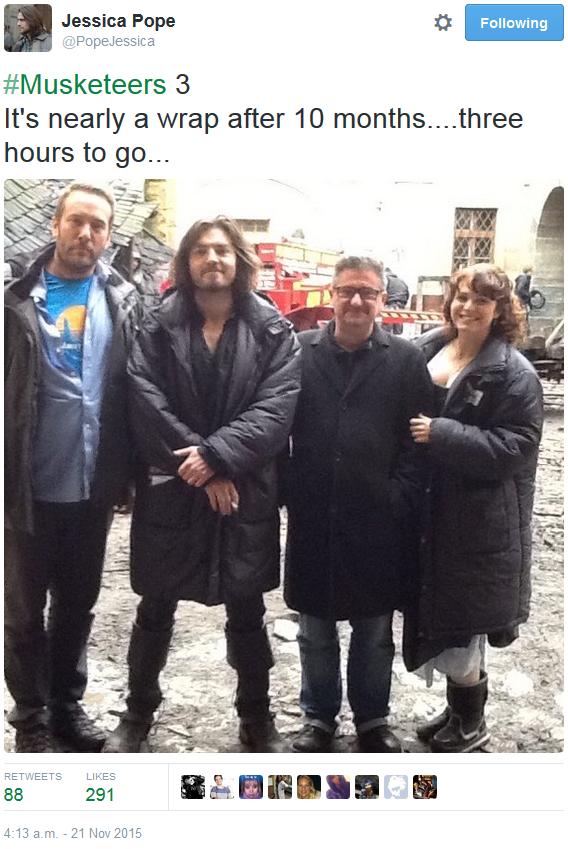 The Musketeers - Series III BtS via Jessica Pope's Twitter (Crew with Tom & Tamla)