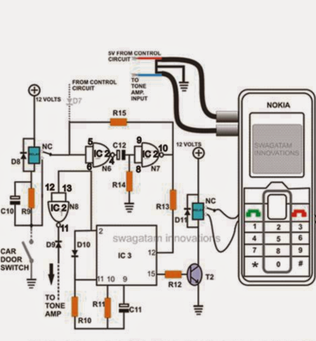 Cell Phone Call Alert Security System Circuit  Electronic