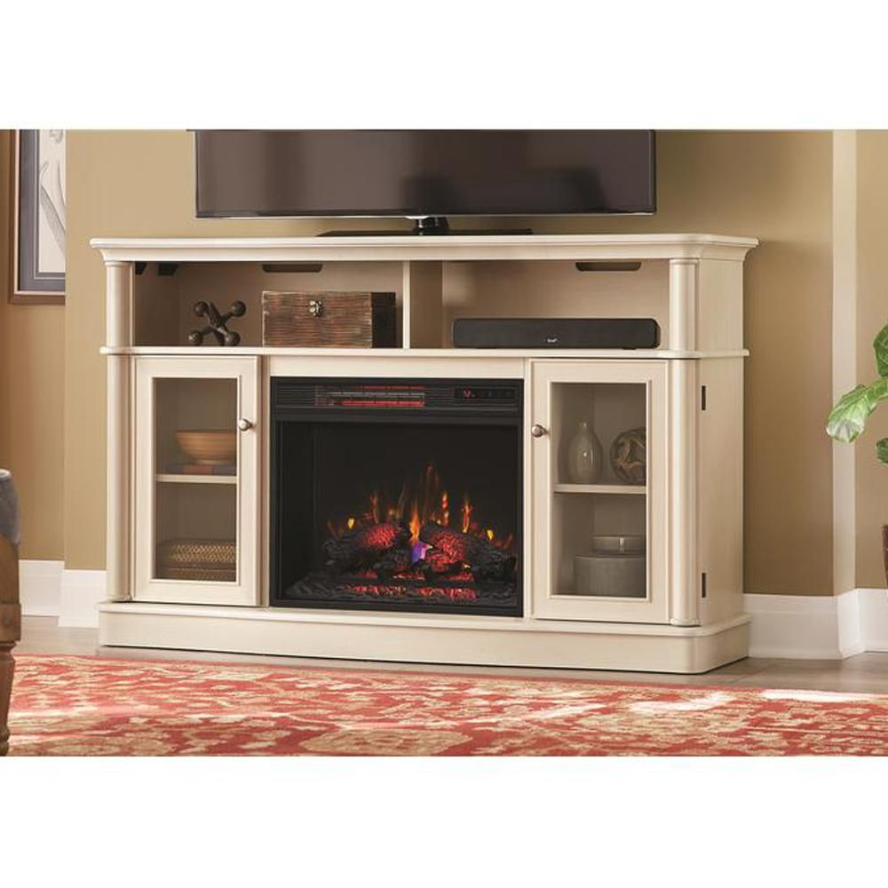 Home Decorators Collection Tolleson 56 In Tv Stand Infrared Bow Front Electric Fireplace In Antique White 103102 The Home Depot Wall Mount Electric Fireplace Fireplace Tv Stand Home Decorators Collection