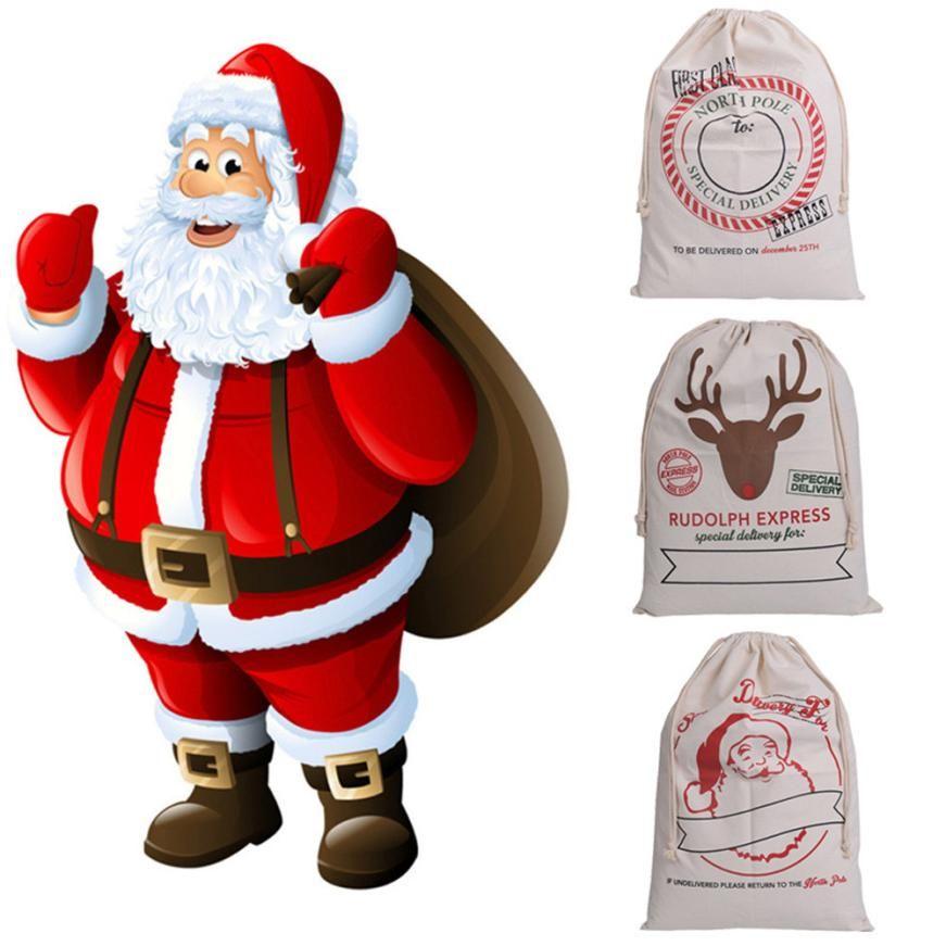 Canvas Merry Christmas Santa Sacks Xmas Stocking Reindeer Storage Gift Bag