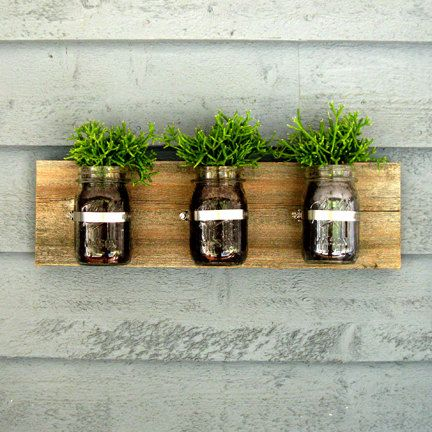 Wall Hanging Planter mason jar wall hanging planter / organizer decor | planters and walls