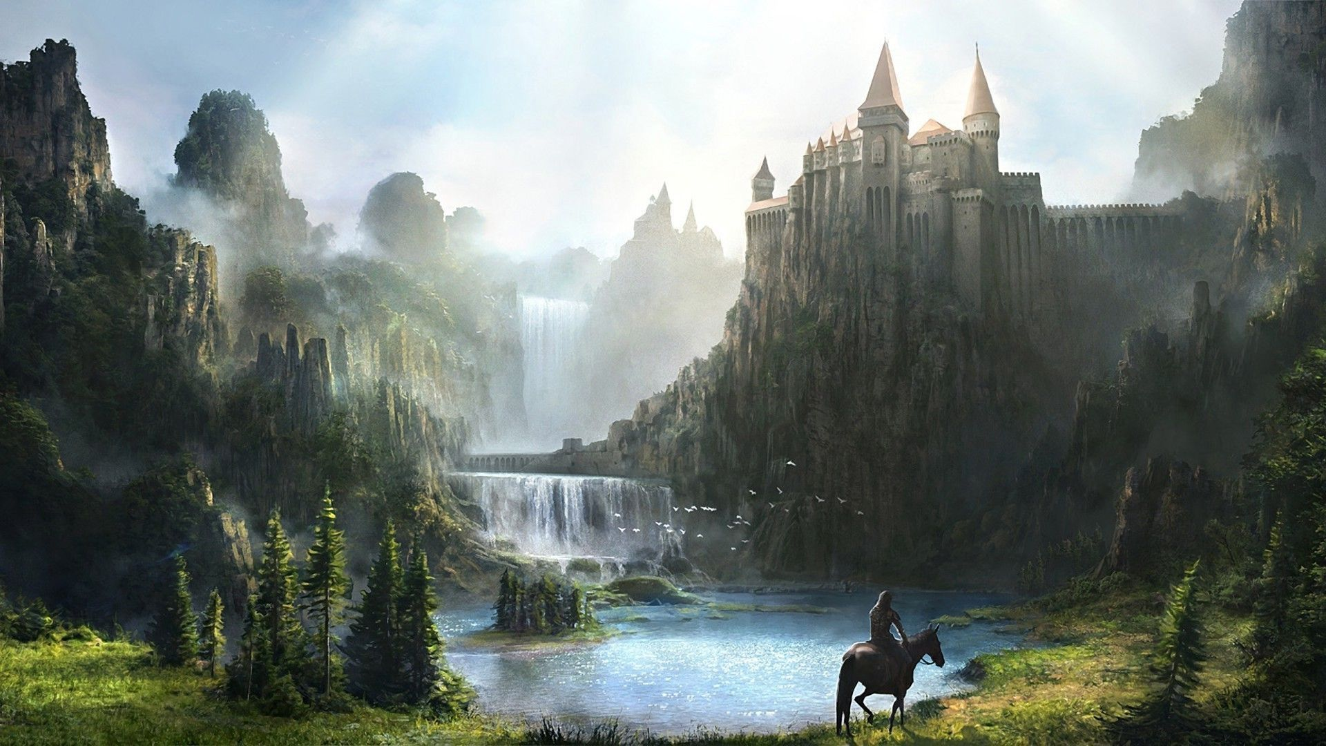 Fantasy Waterfall Castle Hd Wallpapers Man Riding Horse