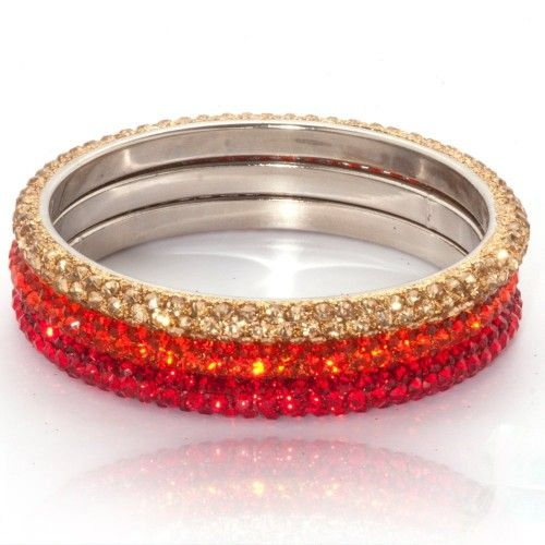 Lemonade Crystal Bangles Set Red and Gold - 4EverBling
