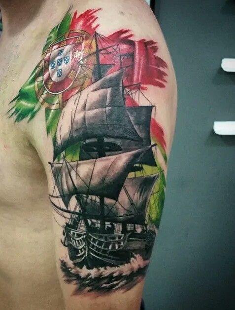 Amor Por Pais Caravela Tatuagem Tatuagem Tatuagem De Navio