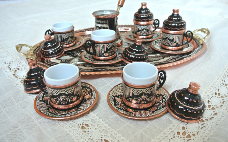 Turkish Coffee Water Tea Set Mugs Glass Porcelain Bowl Tray Tulip Shiny Silver