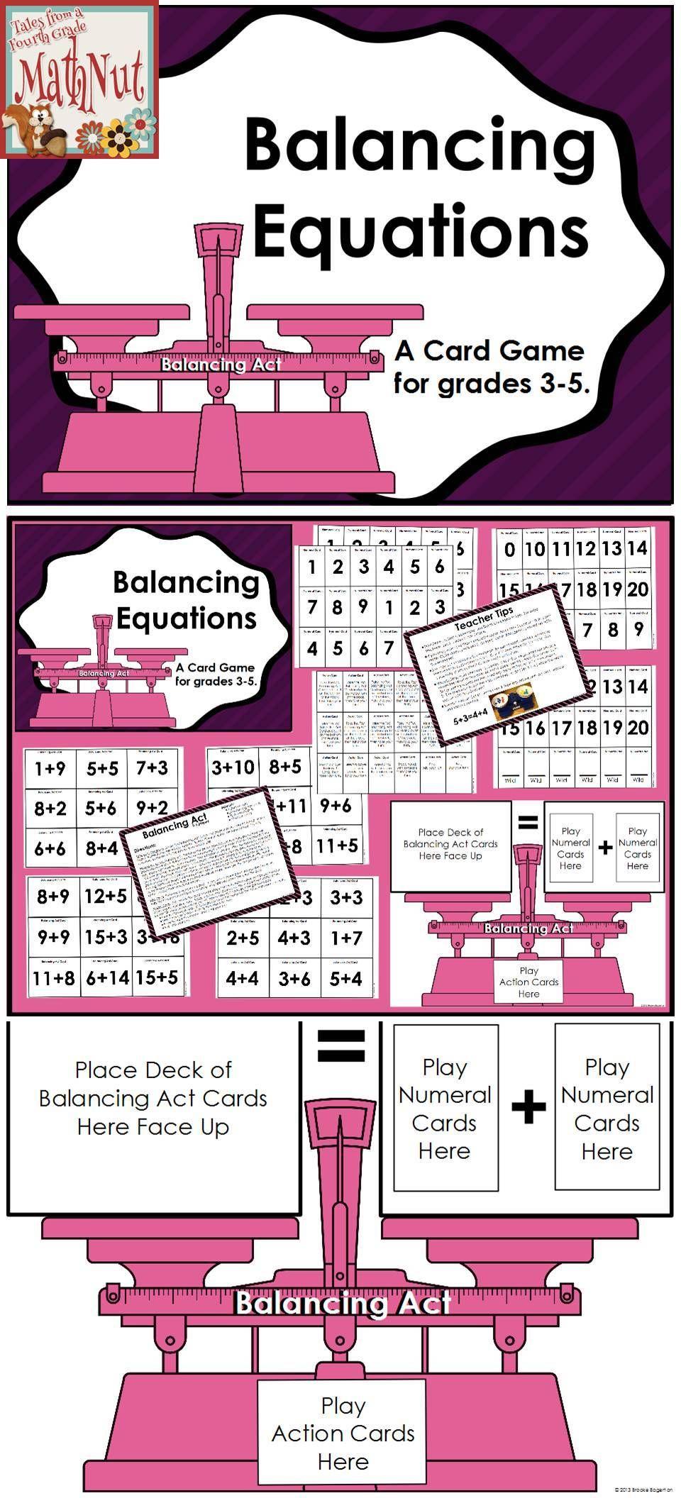 Balancing Addition Equations Addition Card Game Education Math Balancing Equations Math Resources Balancing addition equations game